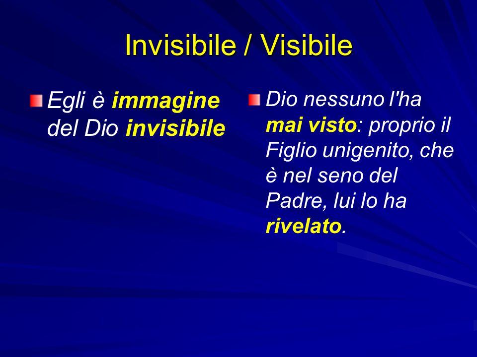 Invisibile / Visibile Egli è immagine del Dio invisibile Dio nessuno l'ha mai visto: proprio il Figlio unigenito, che è nel seno del Padre, lui lo ha