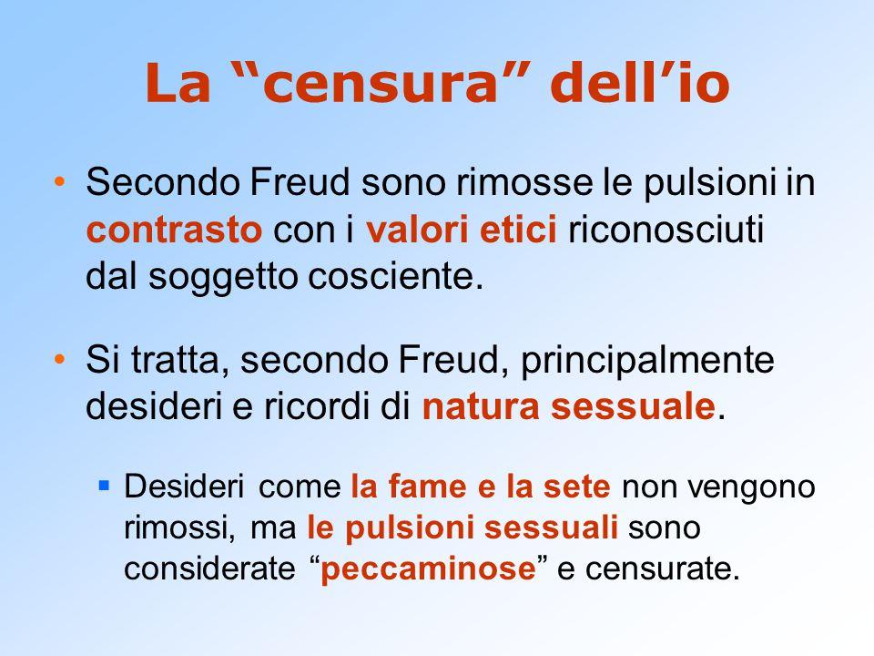 """La """"censura"""" dell'io Secondo Freud sono rimosse le pulsioni in contrasto con i valori etici riconosciuti dal soggetto cosciente. Si tratta, secondo Fr"""