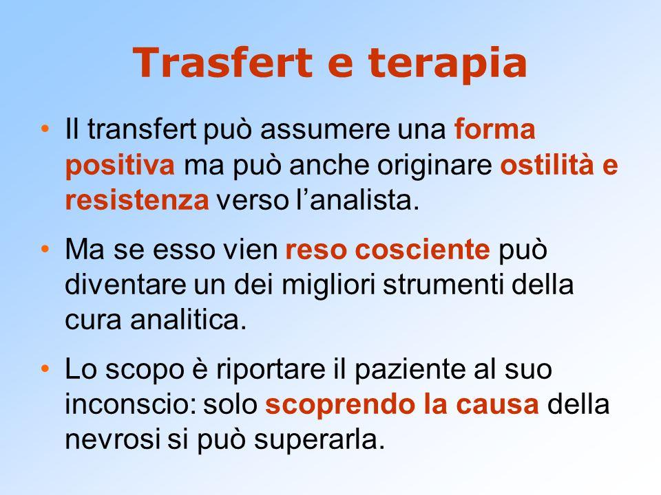 Trasfert e terapia Il transfert può assumere una forma positiva ma può anche originare ostilità e resistenza verso l'analista. Ma se esso vien reso co