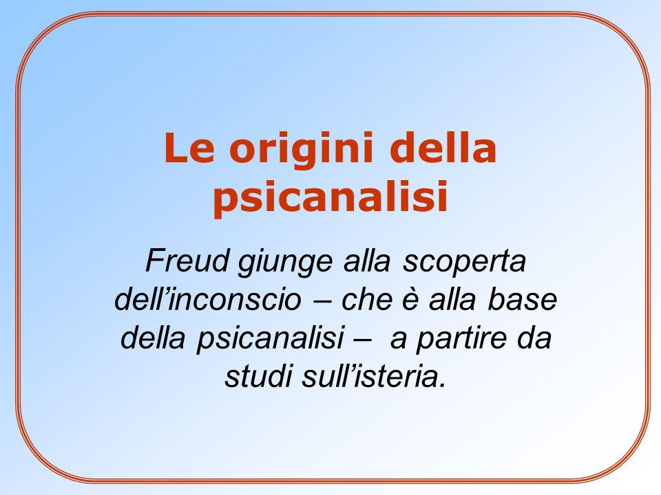 Freud giunge alla scoperta dell'inconscio – che è alla base della psicanalisi – a partire da studi sull'isteria. Le origini della psicanalisi