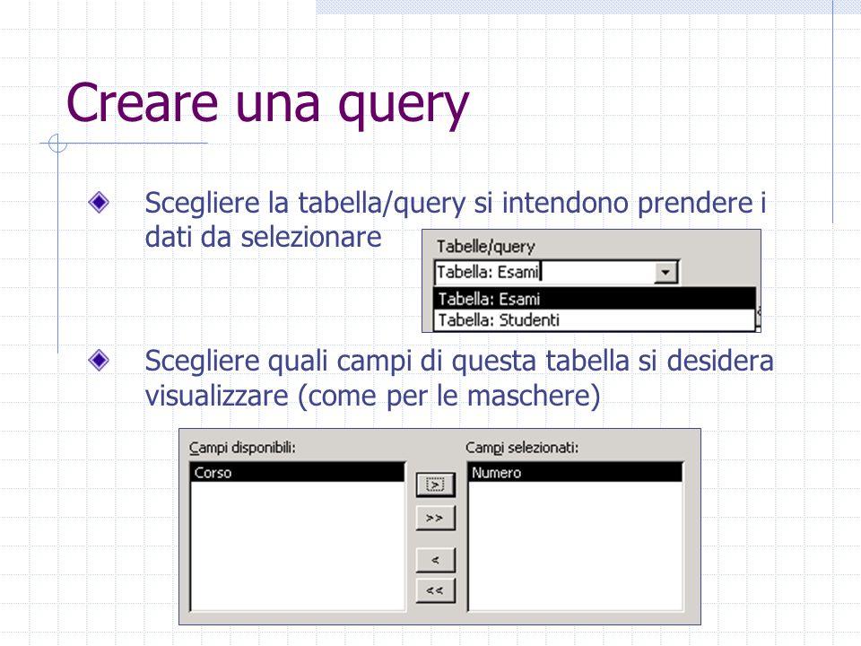 Creare una query Scegliere la tabella/query si intendono prendere i dati da selezionare Scegliere quali campi di questa tabella si desidera visualizza