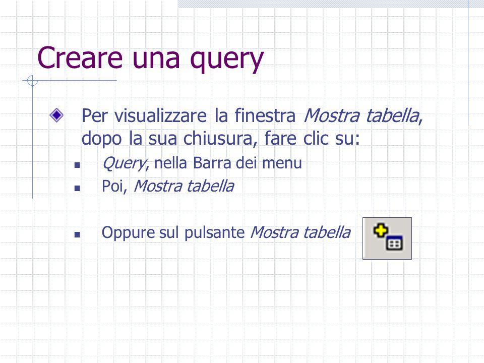 Creare una query Per visualizzare la finestra Mostra tabella, dopo la sua chiusura, fare clic su: Query, nella Barra dei menu Poi, Mostra tabella Oppu