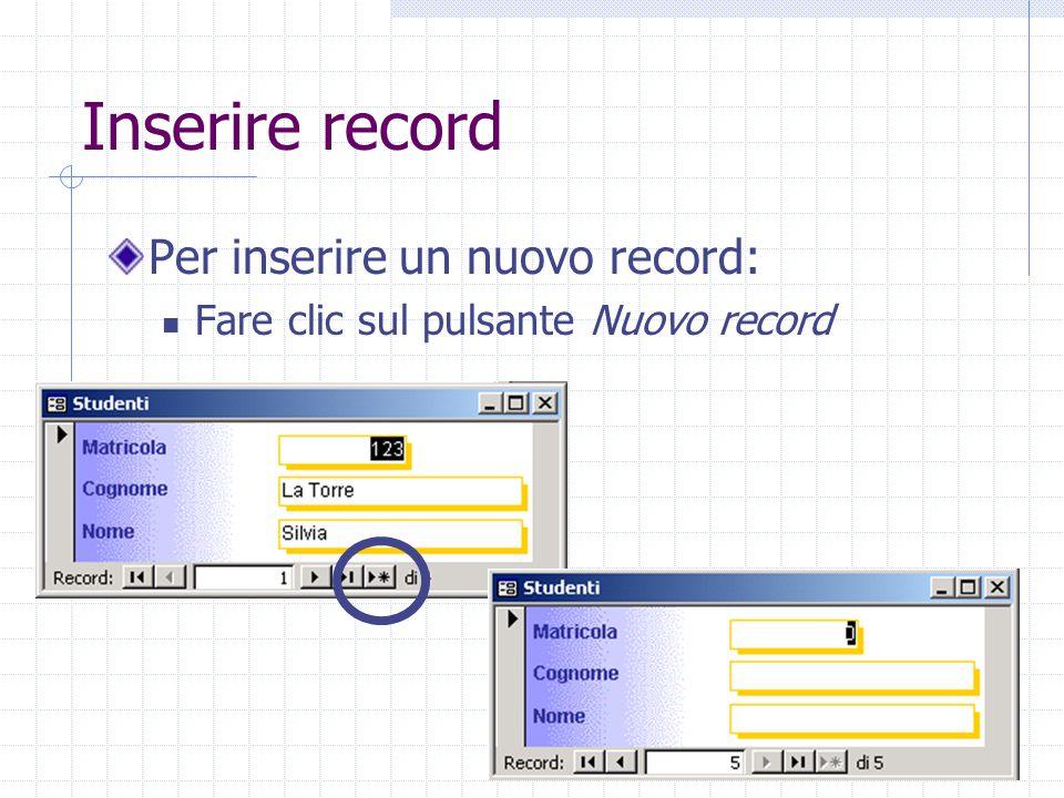 Inserire record Per inserire un nuovo record: Fare clic sul pulsante Nuovo record