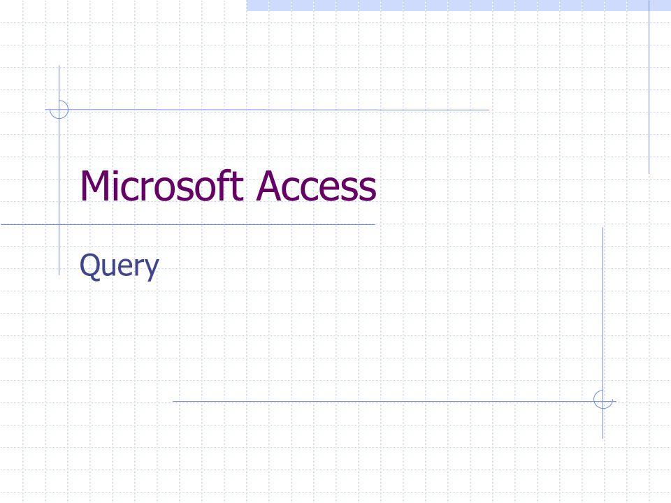 Per estrarre informazioni da un database si utilizzano delle query Query: procedure di interrogazione Si può creare più query per ogni tabella