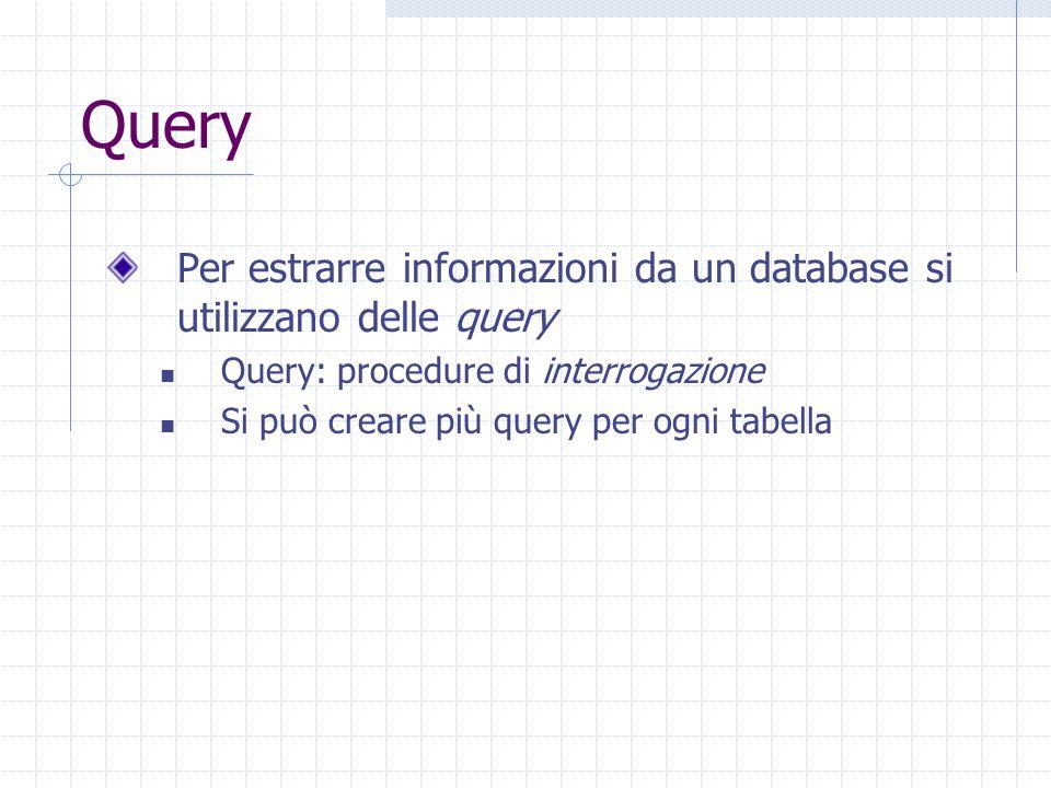 Creare una query 4.