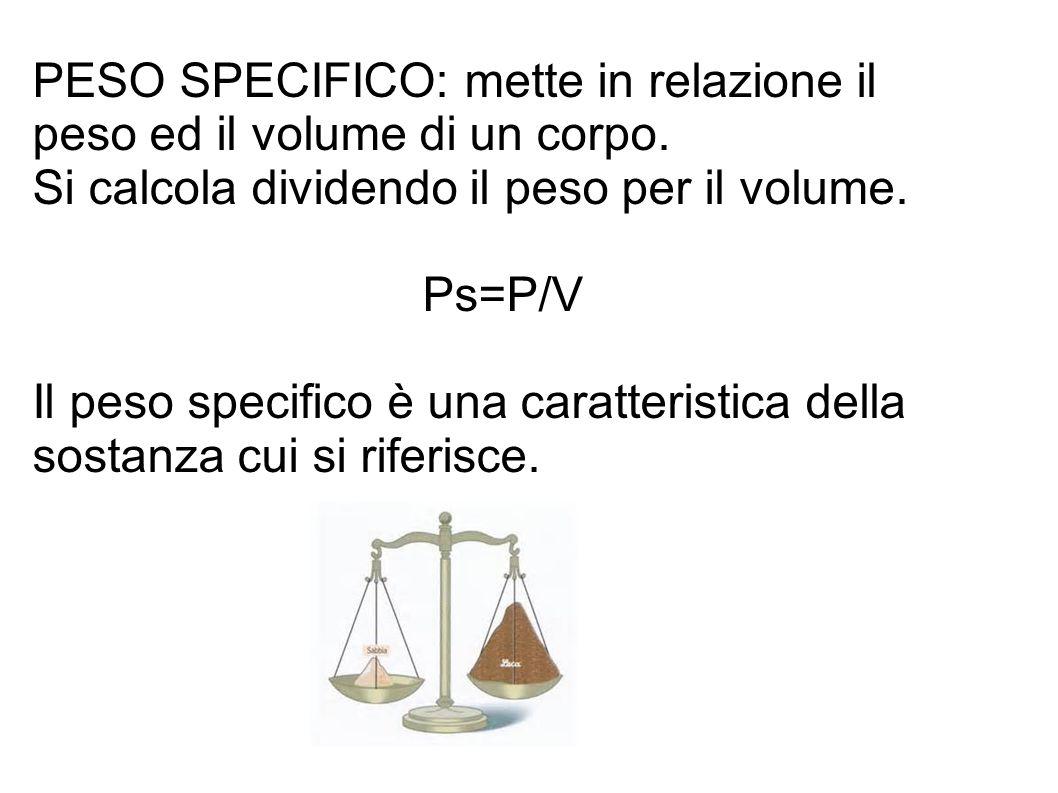 PESO SPECIFICO: mette in relazione il peso ed il volume di un corpo. Si calcola dividendo il peso per il volume. Ps=P/V Il peso specifico è una caratt