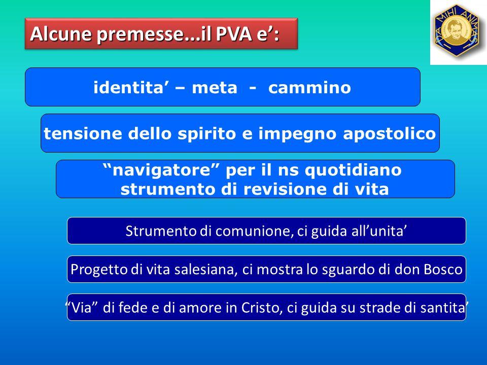 """Alcune premesse...il PVA e': identita' – meta - cammino tensione dello spirito e impegno apostolico """"navigatore"""" per il ns quotidiano strumento di rev"""