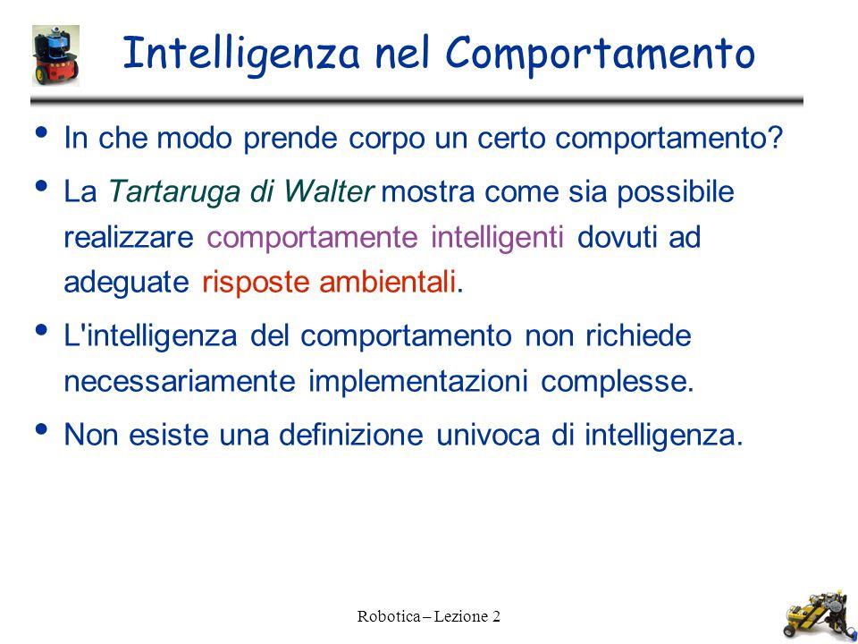 Intelligenza nel Comportamento In che modo prende corpo un certo comportamento.