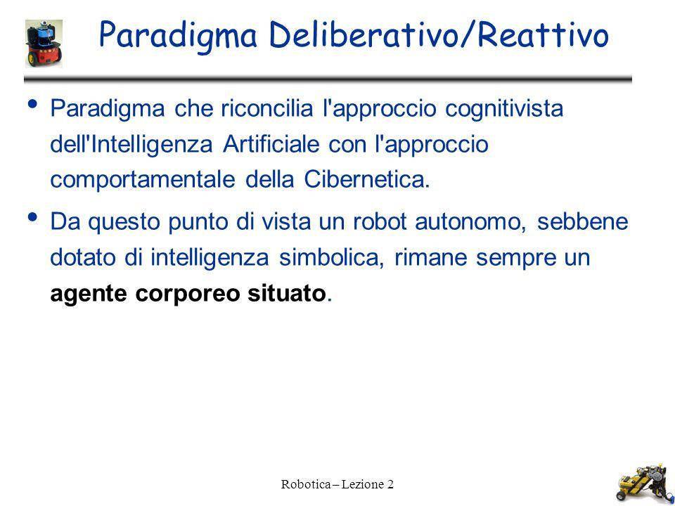 Paradigma Deliberativo/Reattivo Paradigma che riconcilia l approccio cognitivista dell Intelligenza Artificiale con l approccio comportamentale della Cibernetica.