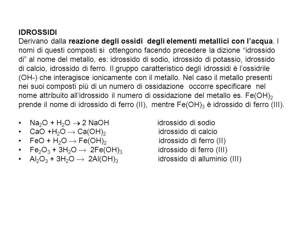IDROSSIDI Derivano dalla reazione degli ossidi degli elementi metallici con l'acqua. I nomi di questi composti si ottengono facendo precedere la dizio