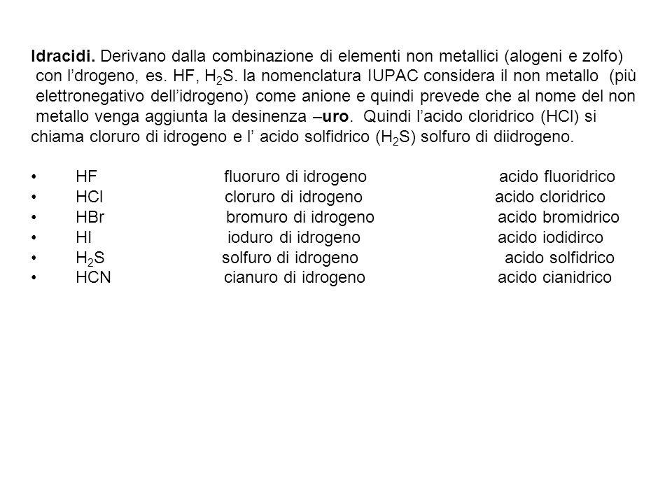 Idracidi. Derivano dalla combinazione di elementi non metallici (alogeni e zolfo) con l'drogeno, es. HF, H 2 S. la nomenclatura IUPAC considera il non
