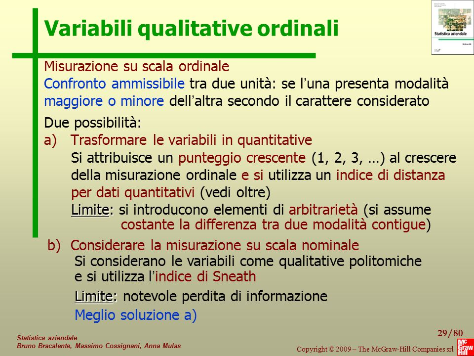 29/80 Copyright © 2009 – The McGraw-Hill Companies srl Statistica aziendale Bruno Bracalente, Massimo Cossignani, Anna Mulas Variabili qualitative ord