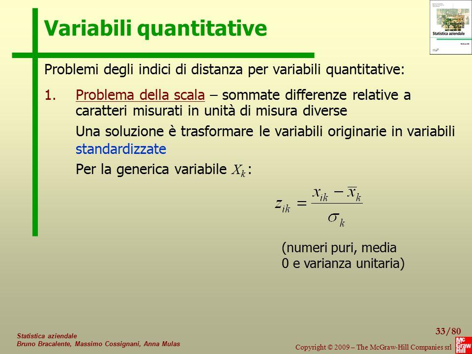 33/80 Copyright © 2009 – The McGraw-Hill Companies srl Statistica aziendale Bruno Bracalente, Massimo Cossignani, Anna Mulas Variabili quantitative Pr
