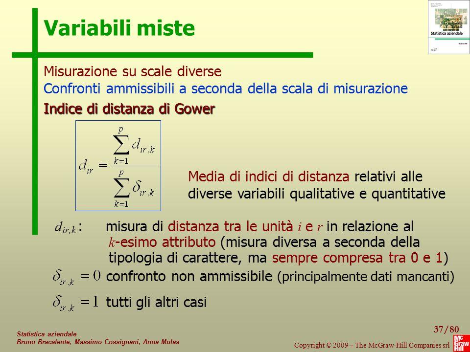 37/80 Copyright © 2009 – The McGraw-Hill Companies srl Statistica aziendale Bruno Bracalente, Massimo Cossignani, Anna Mulas Variabili miste d ir,k :