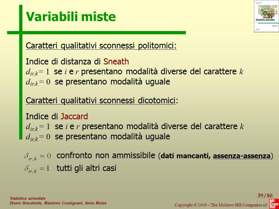 39/80 Copyright © 2009 – The McGraw-Hill Companies srl Statistica aziendale Bruno Bracalente, Massimo Cossignani, Anna Mulas Variabili miste Caratteri