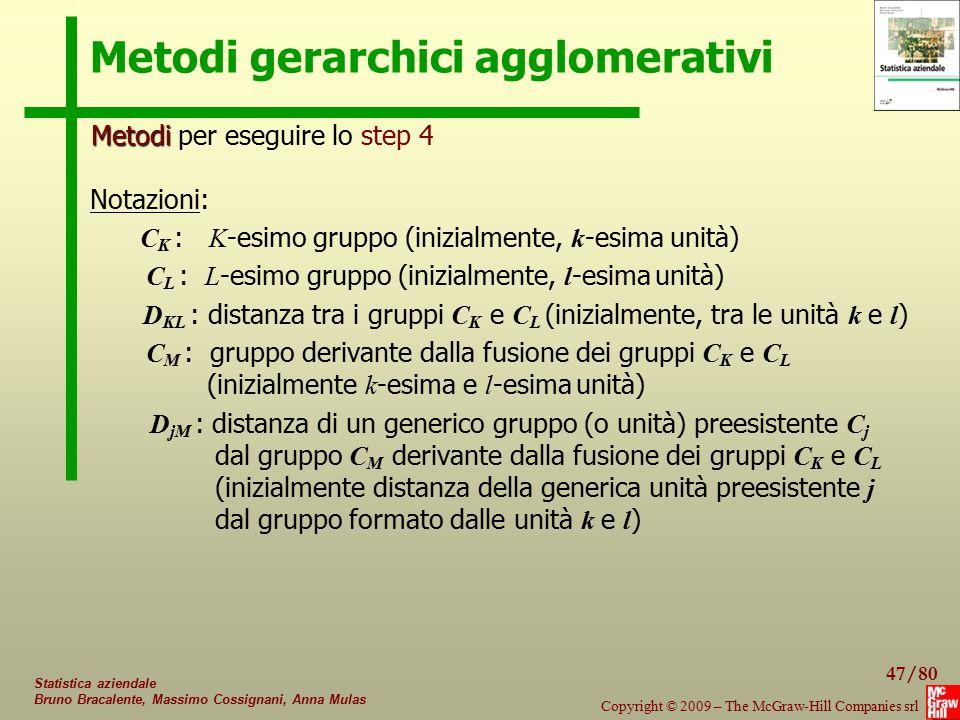 47/80 Copyright © 2009 – The McGraw-Hill Companies srl Statistica aziendale Bruno Bracalente, Massimo Cossignani, Anna Mulas Metodi gerarchici agglome