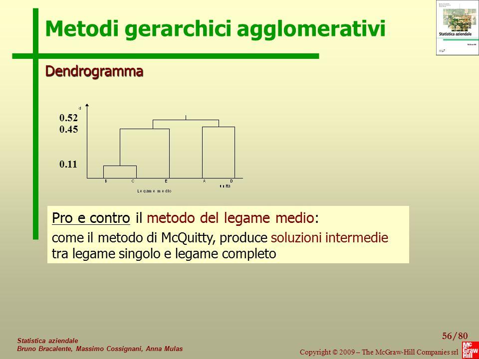 56/80 Copyright © 2009 – The McGraw-Hill Companies srl Statistica aziendale Bruno Bracalente, Massimo Cossignani, Anna Mulas Metodi gerarchici agglome
