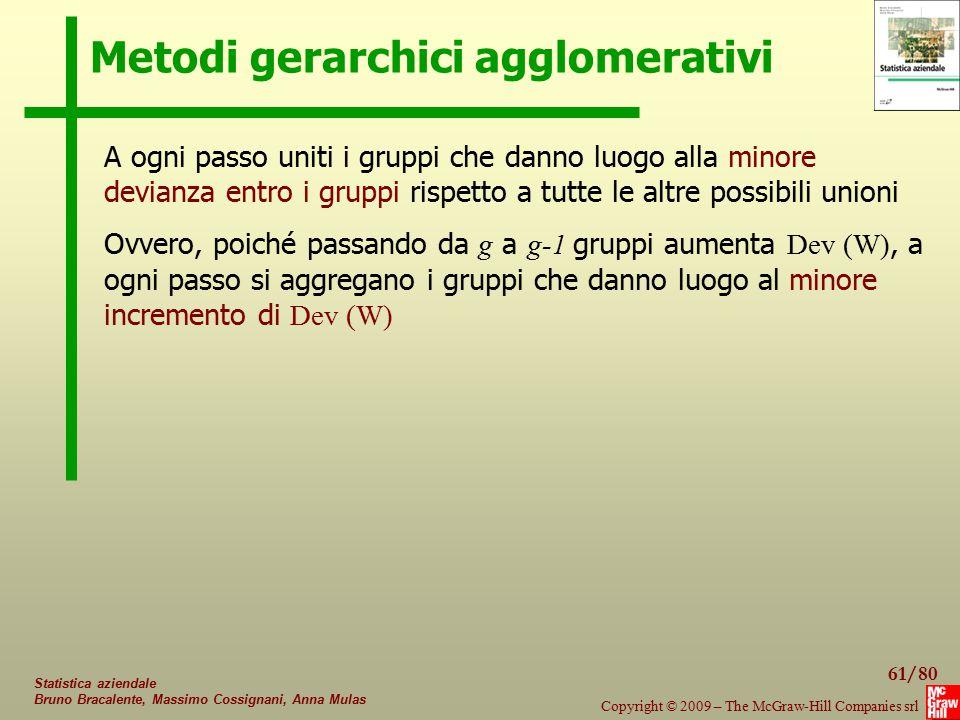 61/80 Copyright © 2009 – The McGraw-Hill Companies srl Statistica aziendale Bruno Bracalente, Massimo Cossignani, Anna Mulas Metodi gerarchici agglome
