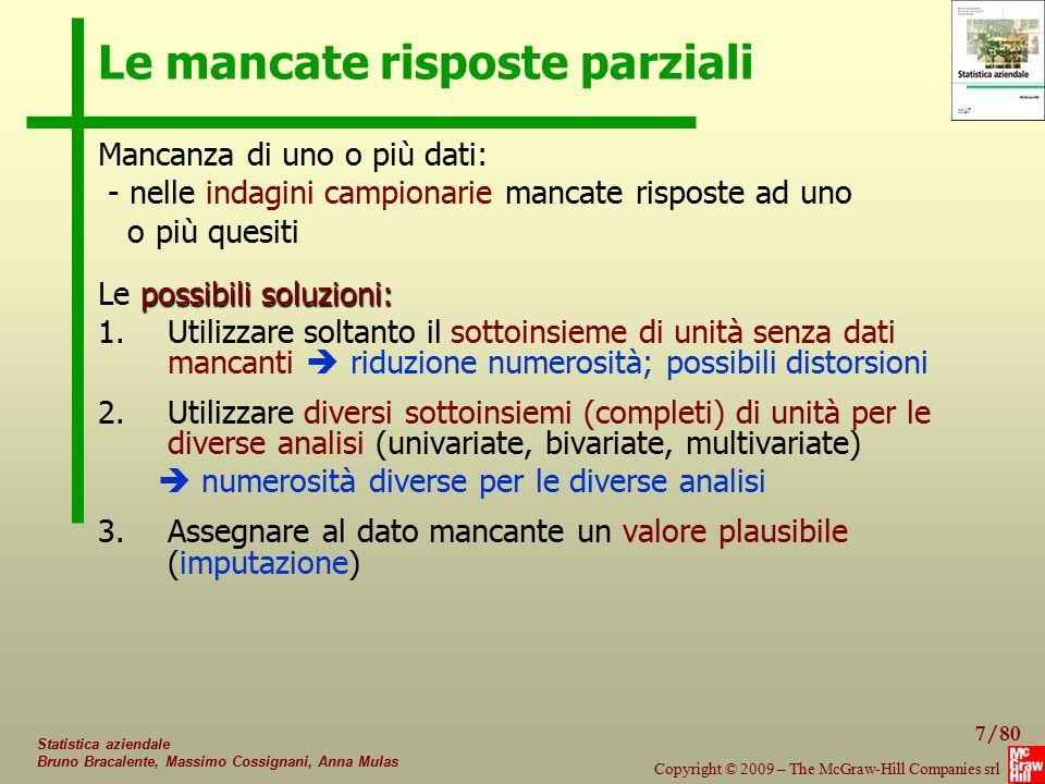 58/80 Copyright © 2009 – The McGraw-Hill Companies srl Statistica aziendale Bruno Bracalente, Massimo Cossignani, Anna Mulas Metodi gerarchici agglomerativi - Esempio UnitàX1X2 ABCDABCD 10 12 8 14 26 30 24 36 ABCD A04.472.8310.8 B07.216.32 C013.4 D0 UnitàX1X2 B D (A,C) 12 14 9 30 36 25 BD(A,C) B06.325.83 D012.1 (A,C)0 Matrice dei dati: Distanza euclidea: Passo 2:  
