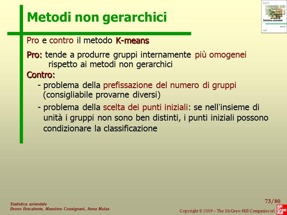 73/80 Copyright © 2009 – The McGraw-Hill Companies srl Statistica aziendale Bruno Bracalente, Massimo Cossignani, Anna Mulas Metodi non gerarchici K-m