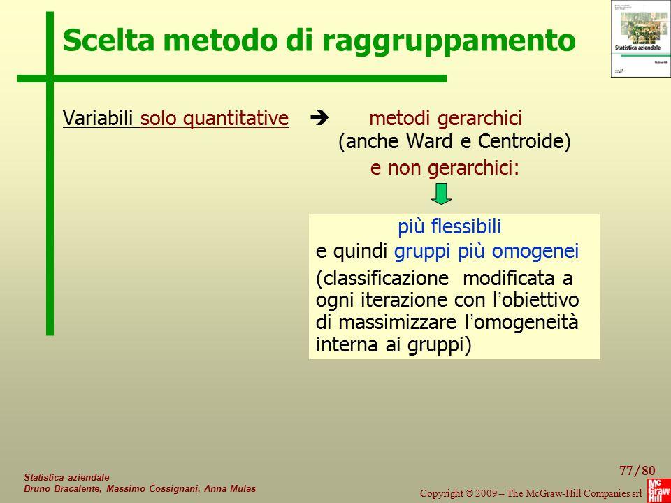 77/80 Copyright © 2009 – The McGraw-Hill Companies srl Statistica aziendale Bruno Bracalente, Massimo Cossignani, Anna Mulas Scelta metodo di raggrupp