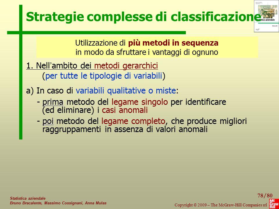 78/80 Copyright © 2009 – The McGraw-Hill Companies srl Statistica aziendale Bruno Bracalente, Massimo Cossignani, Anna Mulas Strategie complesse di cl