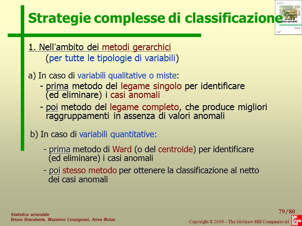 79/80 Copyright © 2009 – The McGraw-Hill Companies srl Statistica aziendale Bruno Bracalente, Massimo Cossignani, Anna Mulas Strategie complesse di cl