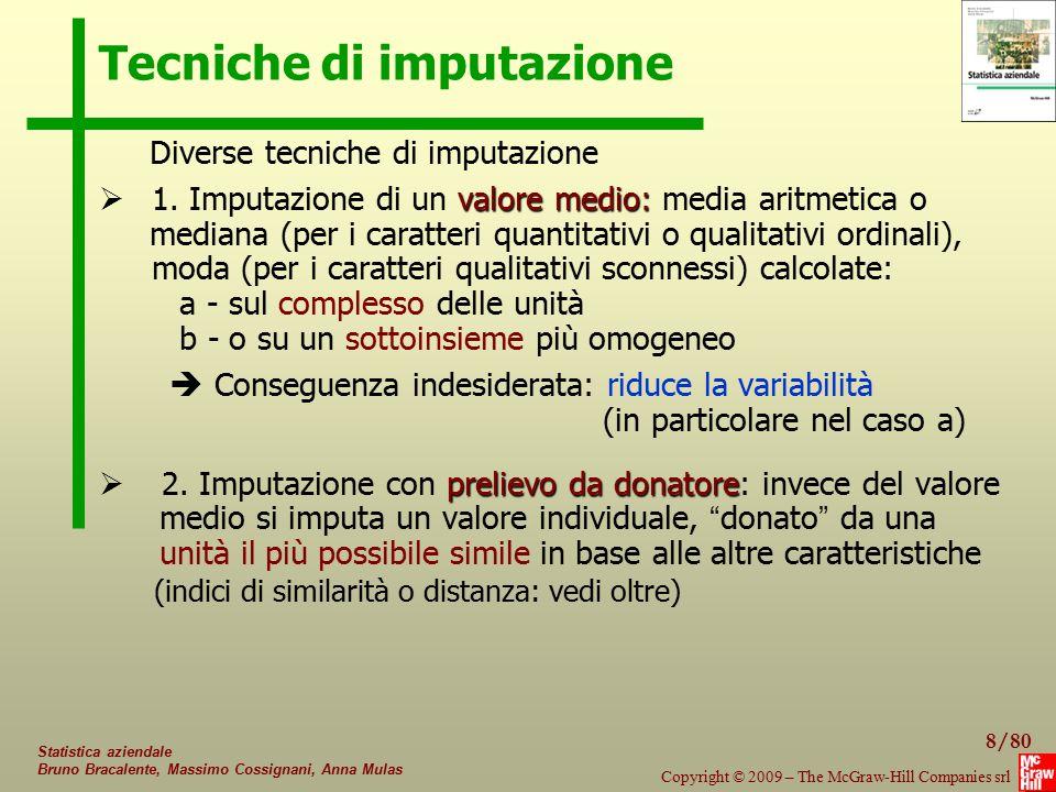 19/80 Copyright © 2009 – The McGraw-Hill Companies srl Statistica aziendale Bruno Bracalente, Massimo Cossignani, Anna Mulas Indici di distanza Esempi dall ' indagine Efige: - qualitative dicotomiche: export (si, no); ide; innovazione - qualitative sconnesse: destinazione export (UE, Asia, USA, …) finanziamento investimenti (autofin, venture cap, cred.