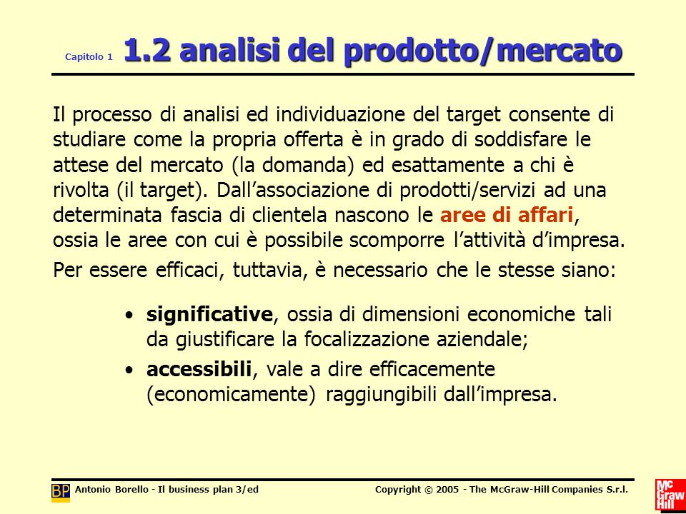 Antonio Borello - Il business plan 3/edCopyright © 2005 - The McGraw-Hill Companies S.r.l. 1.2 analisi del prodotto/mercato Capitolo 1 1.2 analisi del