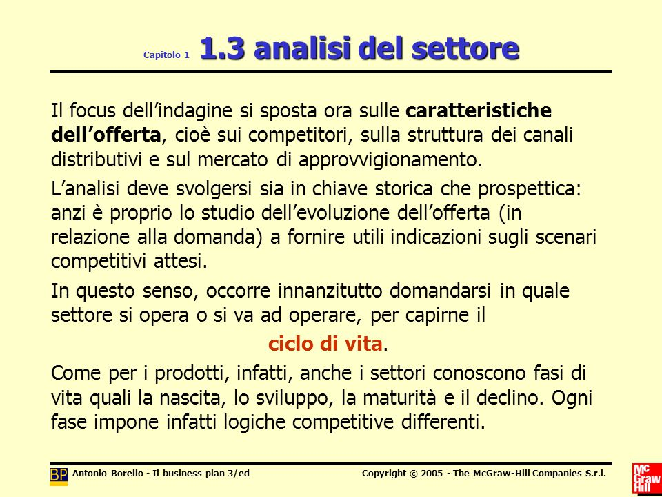 Antonio Borello - Il business plan 3/edCopyright © 2005 - The McGraw-Hill Companies S.r.l. 1.3 analisi del settore Capitolo 1 1.3 analisi del settore