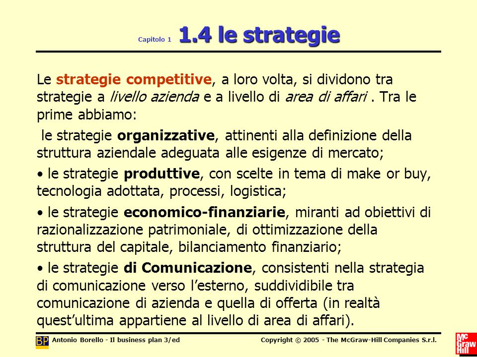 Antonio Borello - Il business plan 3/edCopyright © 2005 - The McGraw-Hill Companies S.r.l. 1.4 le strategie Capitolo 1 1.4 le strategie Le strategie c