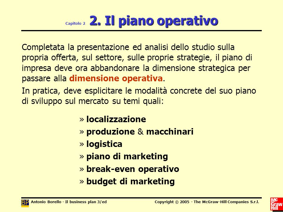 Antonio Borello - Il business plan 3/edCopyright © 2005 - The McGraw-Hill Companies S.r.l. 2. Il piano operativo Capitolo 2 2. Il piano operativo Comp