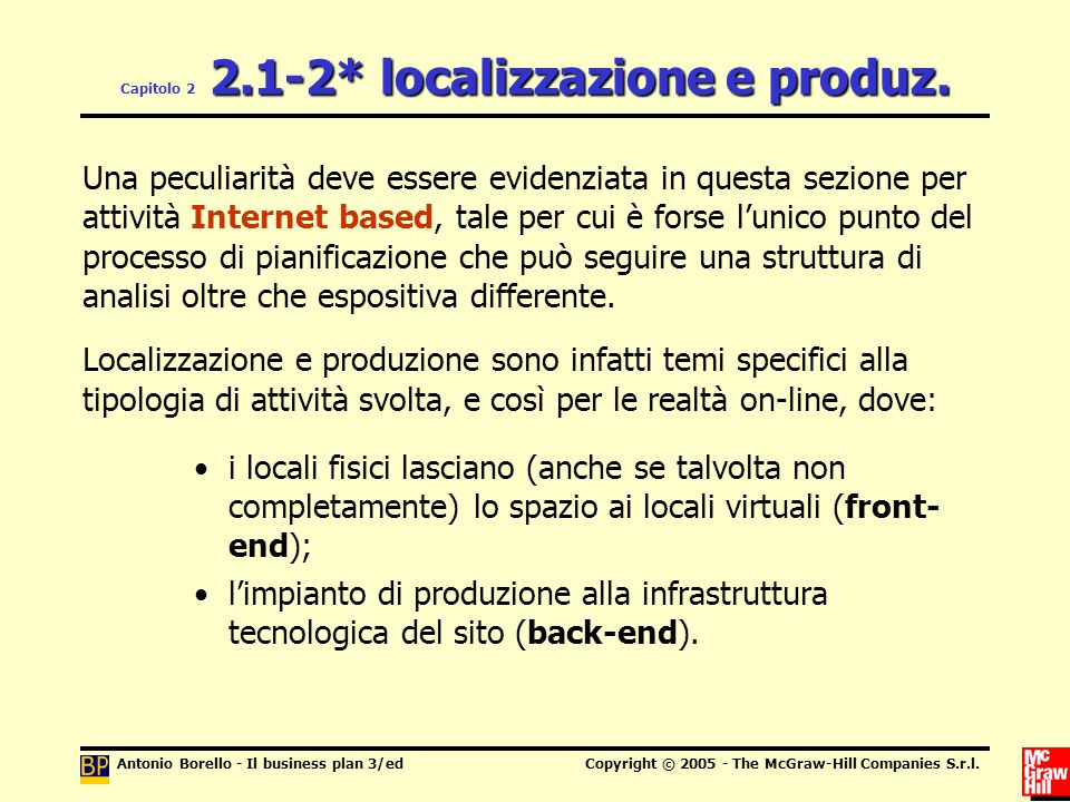Antonio Borello - Il business plan 3/edCopyright © 2005 - The McGraw-Hill Companies S.r.l.