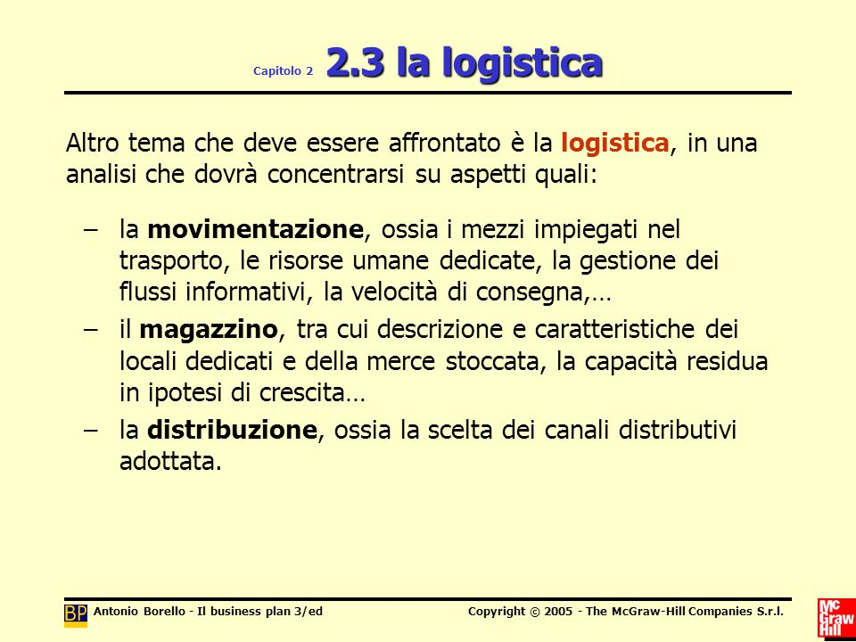 Antonio Borello - Il business plan 3/edCopyright © 2005 - The McGraw-Hill Companies S.r.l. 2.3 la logistica Capitolo 2 2.3 la logistica Altro tema che