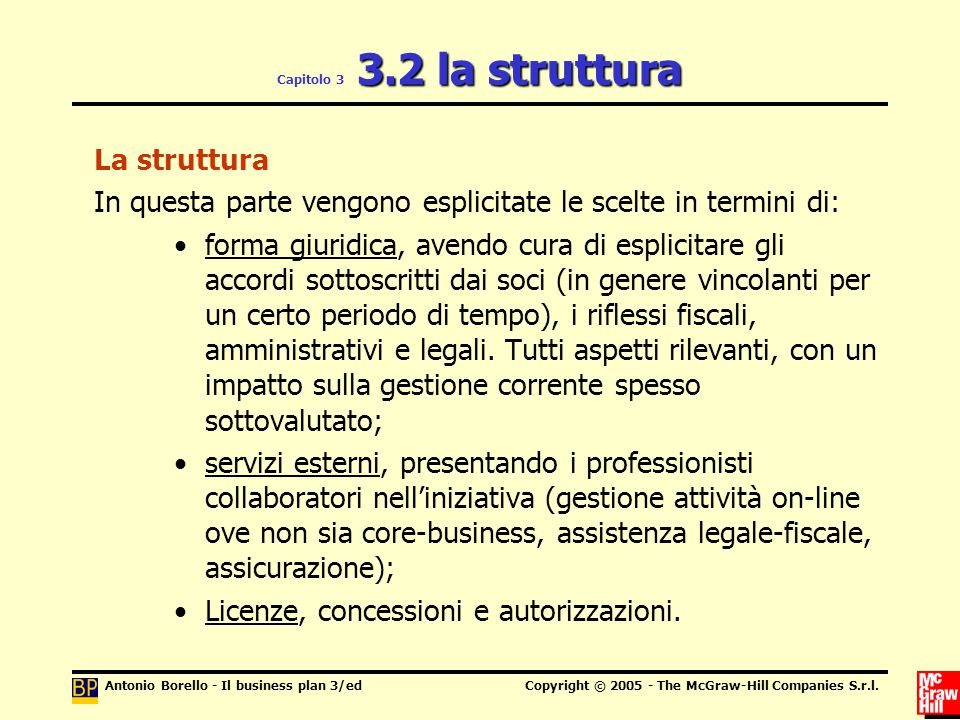 Antonio Borello - Il business plan 3/edCopyright © 2005 - The McGraw-Hill Companies S.r.l. 3.2 la struttura Capitolo 3 3.2 la struttura La struttura I