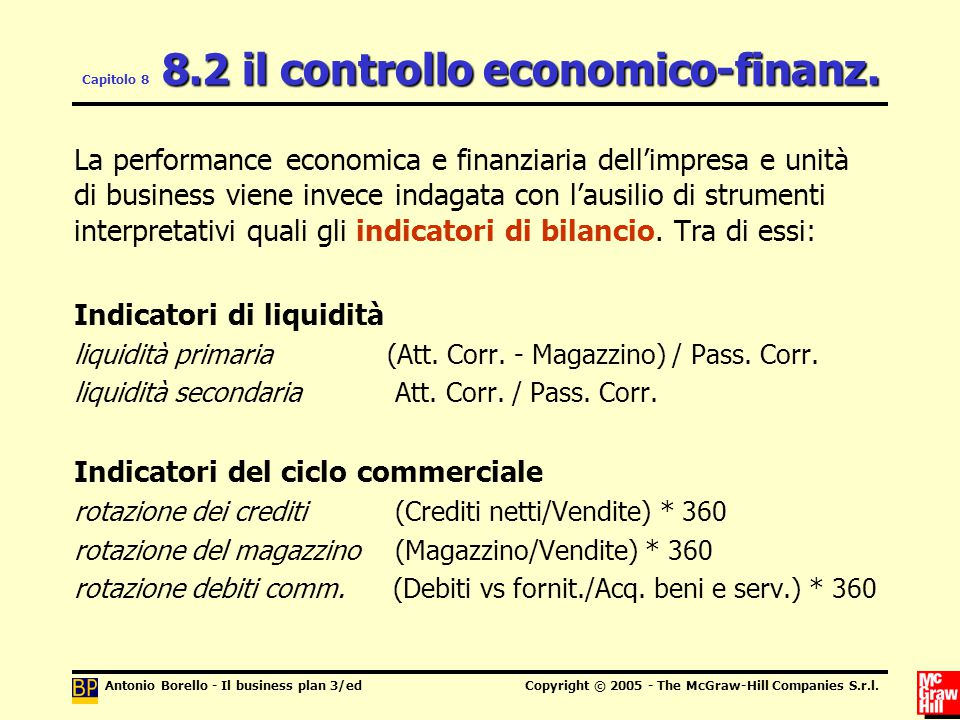 Antonio Borello - Il business plan 3/edCopyright © 2005 - The McGraw-Hill Companies S.r.l. 8.2 il controllo economico-finanz. Capitolo 8 8.2 il contro