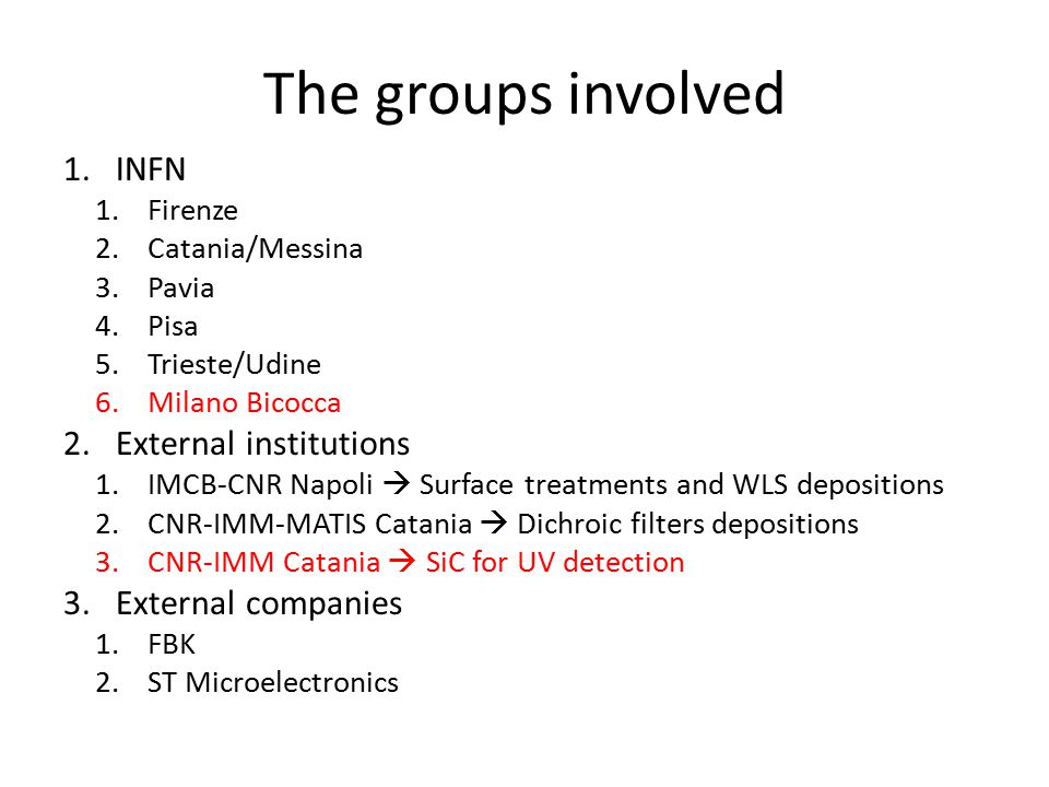 The groups involved 1.INFN 1.Firenze 2.Catania/Messina 3.Pavia 4.Pisa 5.Trieste/Udine 6.Milano Bicocca 2.External institutions 1.IMCB-CNR Napoli  Surface treatments and WLS depositions 2.CNR-IMM-MATIS Catania  Dichroic filters depositions 3.CNR-IMM Catania  SiC for UV detection 3.External companies 1.FBK 2.ST Microelectronics