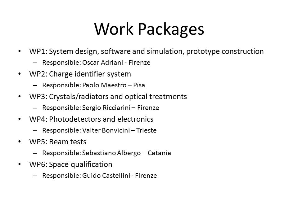 Work Packages WP1: System design, software and simulation, prototype construction – Responsible: Oscar Adriani - Firenze WP2: Charge identifier system – Responsible: Paolo Maestro – Pisa WP3: Crystals/radiators and optical treatments – Responsible: Sergio Ricciarini – Firenze WP4: Photodetectors and electronics – Responsible: Valter Bonvicini – Trieste WP5: Beam tests – Responsible: Sebastiano Albergo – Catania WP6: Space qualification – Responsible: Guido Castellini - Firenze