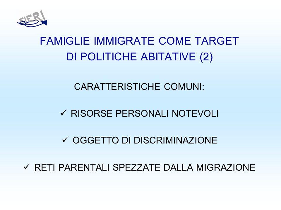 FAMIGLIE IMMIGRATE COME TARGET DI POLITICHE ABITATIVE (2) CARATTERISTICHE COMUNI: RISORSE PERSONALI NOTEVOLI OGGETTO DI DISCRIMINAZIONE RETI PARENTALI SPEZZATE DALLA MIGRAZIONE