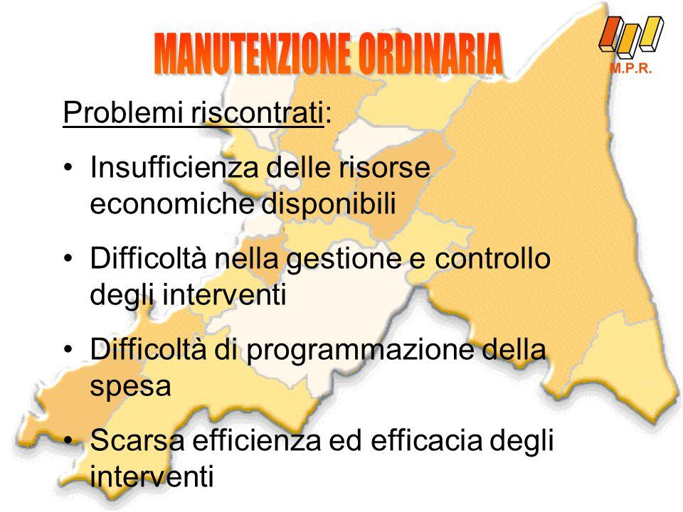Problemi riscontrati: Insufficienza delle risorse economiche disponibili Difficoltà nella gestione e controllo degli interventi Difficoltà di programmazione della spesa Scarsa efficienza ed efficacia degli interventi