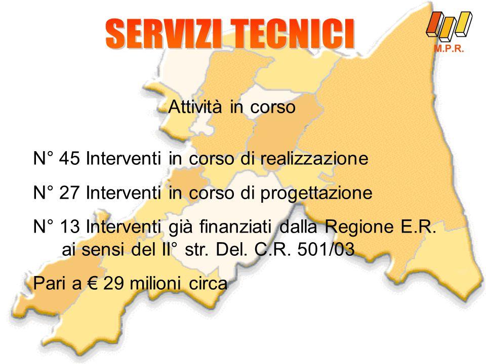 N° 45 Interventi in corso di realizzazione N° 27 Interventi in corso di progettazione N° 13 Interventi già finanziati dalla Regione E.R.