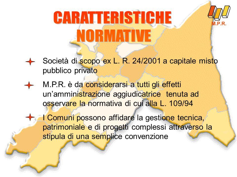 Società di scopo ex L. R. 24/2001 a capitale misto pubblico privato M.P.R.