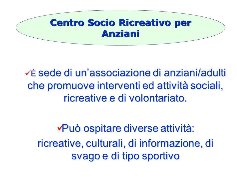 È sede di un'associazione di anziani/adulti che promuove interventi ed attività sociali, ricreative e di volontariato.