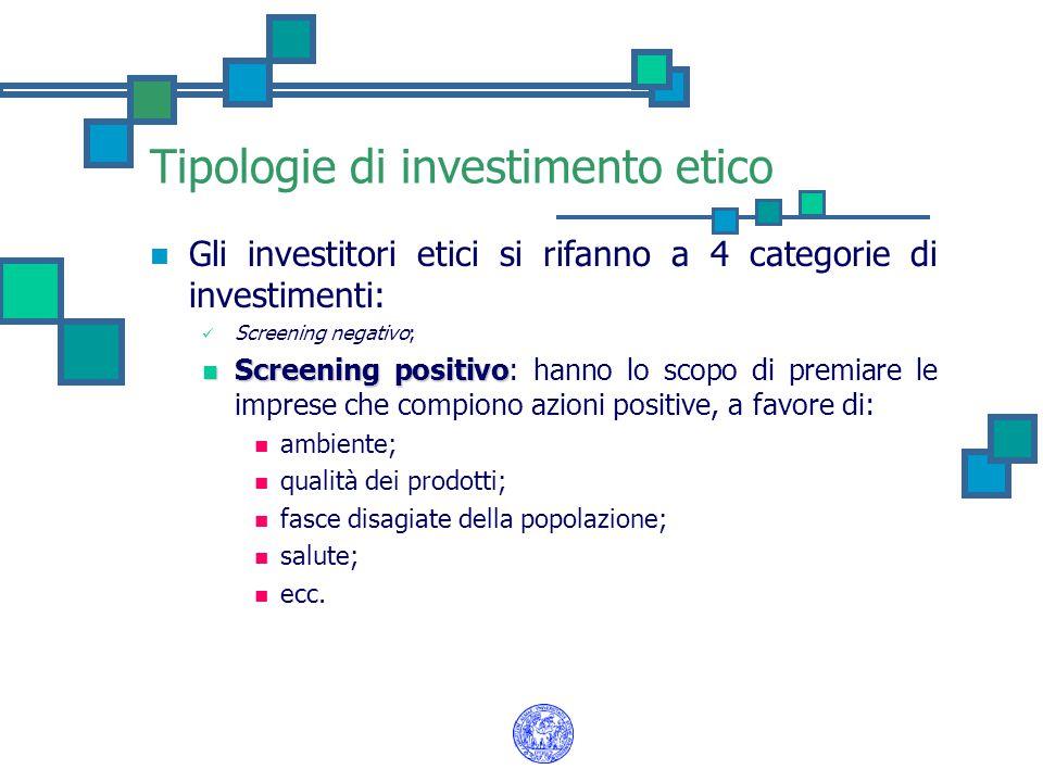 Tipologie di investimento etico Gli investitori etici si rifanno a 4 categorie di investimenti: Screening negativo; Screening positivo; Shareholders activism (o advocacy) Shareholders activism (o advocacy): l'investimento non ha più solo una connotazione finanziaria, ma anche un ruolo sociale.