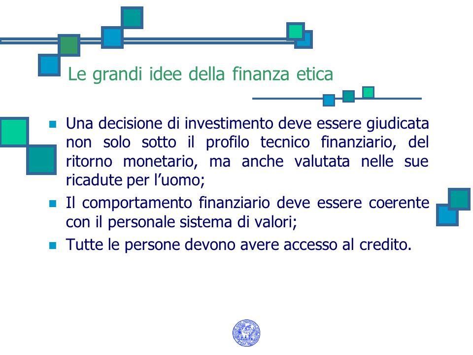 Le grandi idee della finanza etica Una decisione di investimento deve essere giudicata non solo sotto il profilo tecnico finanziario, del ritorno mone