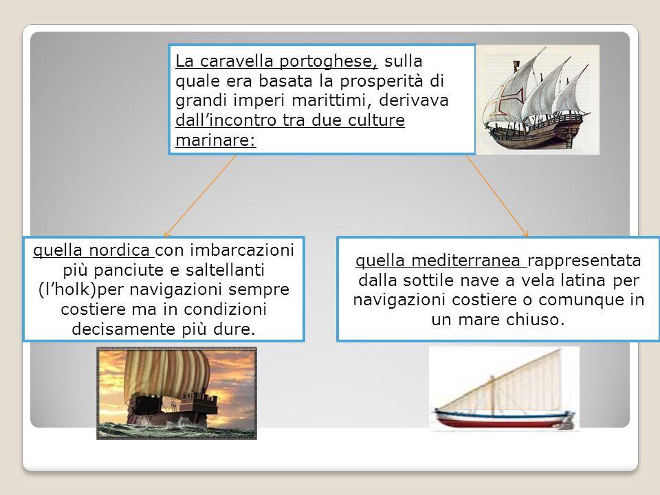 La caravella portoghese, sulla quale era basata la prosperità di grandi imperi marittimi, derivava dall'incontro tra due culture marinare: quella mediterranea rappresentata dalla sottile nave a vela latina per navigazioni costiere o comunque in un mare chiuso.