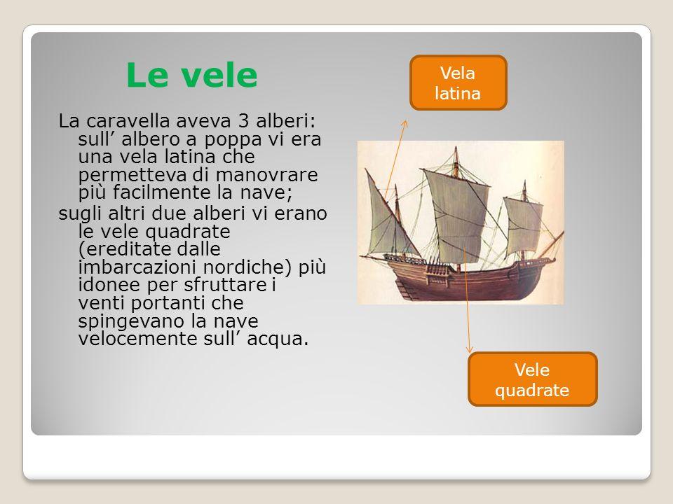 Le vele La caravella aveva 3 alberi: sull' albero a poppa vi era una vela latina che permetteva di manovrare più facilmente la nave; sugli altri due a