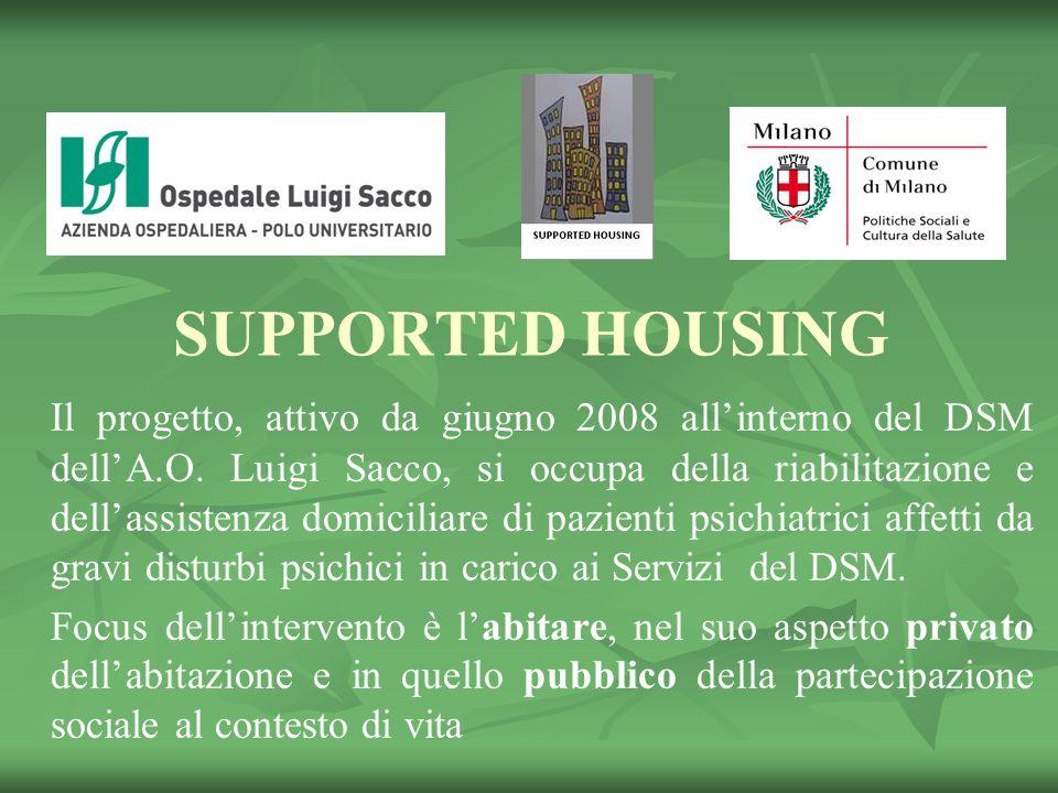 SUPPORTED HOUSING Il progetto, attivo da giugno 2008 all'interno del DSM dell'A.O.