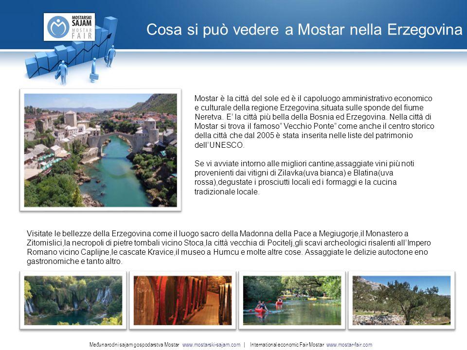 www.nordridesign.com LOGO Cosa si può vedere a Mostar nella Erzegovina Međunarodni sajam gospodarstva Mostar www.mostarski-sajam.com | International economic Fair Mostar www.mostar-fair.com Mostar è la città del sole ed è il capoluogo amministrativo economico e culturale della regione Erzegovina,situata sulle sponde del fiume Neretva.