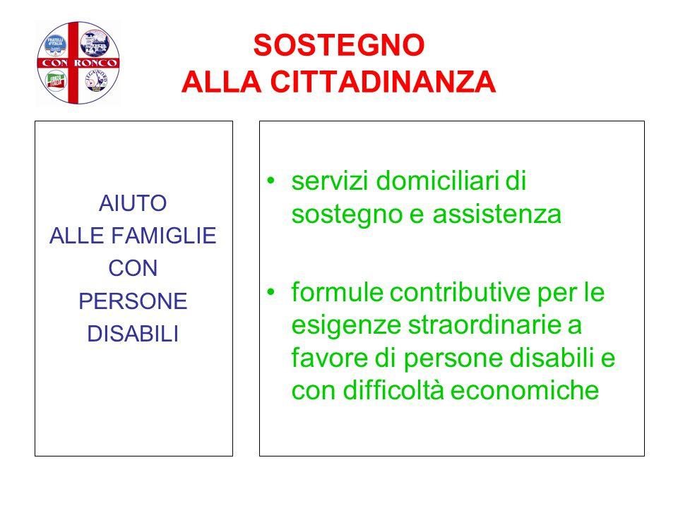 SOSTEGNO ALLA CITTADINANZA AIUTO ALLE FAMIGLIE CON PERSONE DISABILI servizi domiciliari di sostegno e assistenza formule contributive per le esigenze
